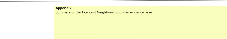 Appendix Summary of the Ticehurst Neighbourhood Plan evidence base.