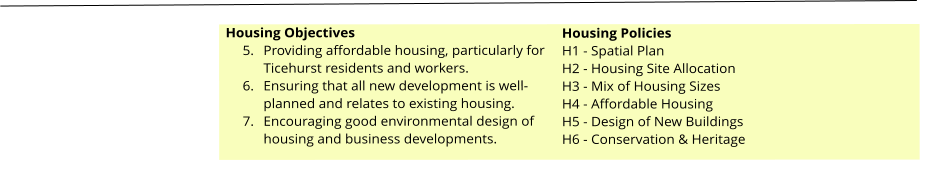 Housing Objectives 	5.	Providing affordable housing, particularly for Ticehurst residents and workers. 	6.	Ensuring that all new development is well-planned and relates to existing housing. 	7.	Encouraging good environmental design of housing and business developments.  Housing Policies H1 - Spatial Plan H2 - Housing Site Allocation H3 - Mix of Housing Sizes H4 - Affordable Housing H5 - Design of New Buildings H6 - Conservation & Heritage